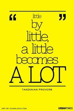 """Little by little, a little becomes a lot."""