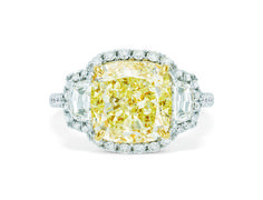 fancy light yellow cushion cut diamond ring with side trapezoid diamonds set in white gold and diamond pavé. Cushion Cut Diamond Ring, Yellow Diamond Rings, Cushion Cut Diamonds, Bridal Jewellery, Gold Jewellery, Jewelry, Yellow Cushions, Diamond Are A Girls Best Friend, White Gold
