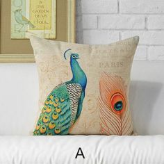 Peacock animal print pillows for couch hand drawn style