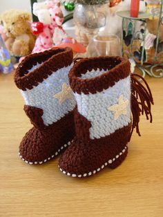 Western Cowboy Baby Booties Boots Crochet Dark Brown and Blue with White Stars via Etsy