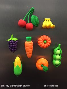 Iwako vegetable and fruit erasers as upcycled magnets Pasta Flexible, Handmade Shop, Kitsch, Diy For Kids, Biscuit, Upcycle, Polymer Clay, Etsy Seller, Etsy Shop