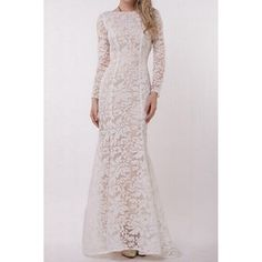 Sexy Round Neck Long Sleeve See-Through Lace Women's Dress