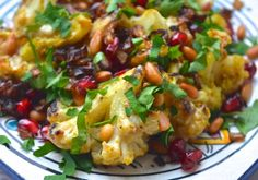 Roasted cauliflower with roasted garlic tahini sauce