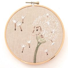 DandeMouse embroidery pattern. https://www.etsy.com/au/listing/281485936/dandelion-mouse-pdf-embroidery-pattern