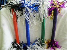 Cheerleading Spirit Stick - Cheer Stick - Blue and White Spirit Football Cheer, Cheer Camp, Cheer Coaches, Cheer Spirit Sticks, Cheerleading Crafts, Cheer Banquet, High School Cheer, Cheer Party, Cheer Gifts