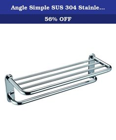 Angle Simple SUS 304 Stainless Steel Bath Towel Rack Bathroom Shelf with Towel Bar 24 inches Storage Organizer Contemporary Hotel Style Wall Mount, Polished Steel. SPECIFICATIONS - Material: Stainless Steel - Finish: Polished Steel - Installation Method: Wall-Mounted Package Includes Towel Rack Screws and anchors . Bath Towel Racks, Towel Rack Bathroom, Bathroom Hardware, Bathroom Shelves, Bath Towels, Steel Bath, Anchors, Storage Organization, Wall Mount