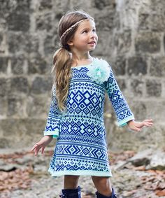 Another great find on #zulily! Mint & Navy Geo A-Line Dress -Toddler &…