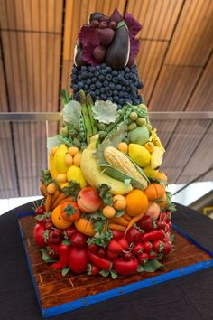 This is a cake. Each fruit and vegetable is made from fondant and gum paste. Probably tastes terrible -- but sure is pretty!