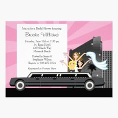 Limo Bridal Shower Invitation Cards - Invite the guests for a bridal shower in style with this modern and chic Limo Bridal Shower Invitation. The pink and black invitation features a bride to be and her bridesmaids coming out of the top of a limo. Perfect for Bachelorette Parties or Bridal Showers.
