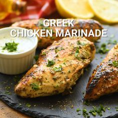 Greek Chicken Marinade is a quick and easy marinade recipe that will give your chicken amazing flavor and make it so tender! The combination of classic Greek flavors like lemon, garlic, and oregano will have your taste buds bursting. This is perfect for a Greek Chicken Breast, Greek Chicken Kabobs, Greek Marinated Chicken, Grilled Lemon Chicken, Greek Lemon Chicken, Greek Chicken Recipes, Chicken Tender Recipes, Greek Recipes, Greek Chicken Seasoning