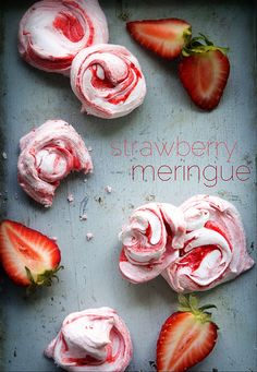 Strawberry Meringues:  Per the website, you can also (1) change the flavor by switching the jam, (2) use Nutella, peanut butter, melted chocolate, (3) infuse your jam with a little booze, or (4) place your meringue in a pastry bag fitted with a tip and shape them that way. The ones in the photo were dropped by spoonful on to a parchment-lined bakesheet in order to get the strong swirls (the pastry bag blends the jam and dyes the meringue.