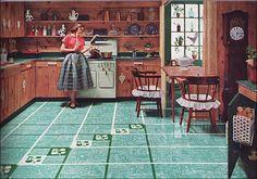 Vintage Room, Vintage Kitchen Decor, 50s Kitchen, Retro Kitchens, Vintage Homes, Country Kitchen, Kitchen Ideas, Mid Century Decor, Mid Century House