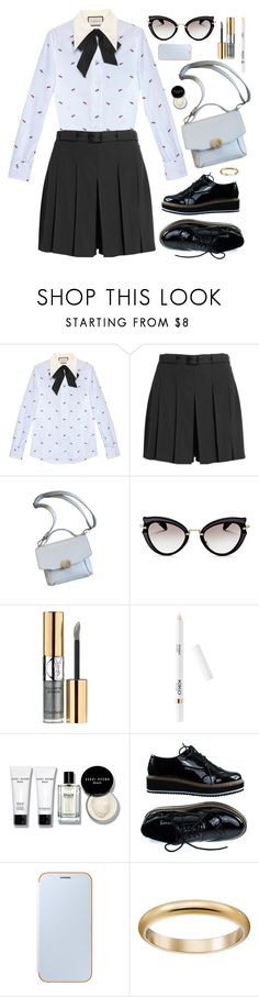 """Retro Gucci"" by virginia-laurie ❤ liked on Polyvore featuring Gucci, A.P.C., Miu Miu, Yves Saint Laurent, Bobbi Brown Cosmetics and Samsung"