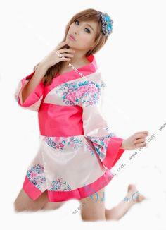 Women Printed Satin Kimono Night Dress Gown Belt Babydoll Robe Lingerie