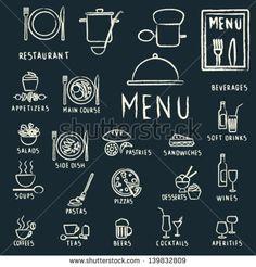 elementos de diseño de menú de restaurante con iconos de alimentos y bebidas dibujados con tiza en la pizarra