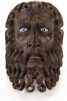 C Fabulous Antique Carved Wooden Mask of a God w Blue glass Eyes Rare Mexican Mask, Head Mask, Masks Art, Metal Casting, Tribal Art, Wood Carving, Folk Art, Lion Sculpture, Artwork