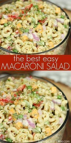 This Easy Macaroni Salad recipe is the perfect side dish to bring to Summer BBQ's, parties and more! Easy macaroni salad is loaded with veggies, cheese and more. You will love the creamy dressing in Macaroni salad recipe. Try this Pasta salad with mayo. Pasta Dishes, Food Dishes, Food Food, Bbq Food, Vegan Food, Easy Macaroni Salad, Simple Pasta Salad, Elbow Macaroni Recipes, Simple Salads