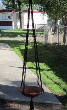 Macrame planta suspensión estilo Vintage 6 en 72 mm marrón con perlas