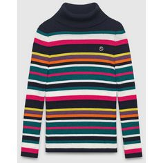 Gucci Kid'S Merino Silk Striped Turtleneck Sweater (1.685.380 IDR) ❤ liked on Polyvore featuring tops, sweaters, navy, sale, colorful sweaters, striped turtleneck sweater, striped sweater, navy sweater and merino turtleneck sweater
