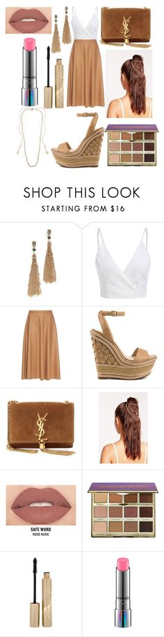 """🔶🔸🔶"" by dilya-kadyrova ❤ liked on Polyvore featuring Alexis Bittar, MaxMara, Jessica Simpson, Yves Saint Laurent, Missguided, Smashbox, tarte, Stila, MAC Cosmetics and Chan Luu"