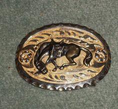 Men's Vintage Silver & Gold Tone Bucking Bronco Ornate Western Belt Buckle, GUC