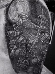 Tatuaje hecho por Santi, de Sevilla (España). Si quieres ponerte en contacto con él para un tatuaje o ver más trabajos suyos visita su perfil: http://www.zonatattoos.com/santi_monky    Si quieres ver más tatuajes de samurais visita este otro enlace: http://www.zonatattoos.com/tatuaje.php?tatuaje=103884