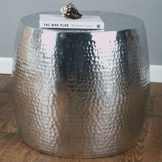 Delightful Find It At The Foundary   Silver Aluminum Wide Drum Side Table
