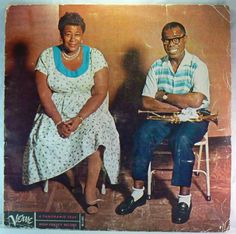 Jazz icons Ella Fitzgerald and Louis Armstrong. Although they collaborated on several releases, they were collectively primarily known for their 2 small band albums: Ella & Louis (shown) and Ella & Louis Again, plus their big band Porgy & Bess album. Ella Fitzgerald, Louis Armstrong, Norah Jones, Dean Martin, Ray Charles, Vinyl Lp, Vinyl Records, The Nearness Of You, Vinyls