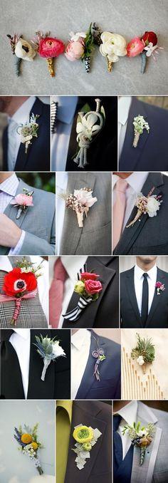 corsage, knappnålsblomma, boutonnieres, buttonholes, förslag på olika corsage, förslag på knapphålsblommor