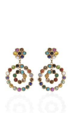 Cabochon Stone Double-Hoop Drop Earrings by Sylvia Toledano - Moda Operandi Jewelry Design Earrings, Dangle Earrings, Jewelry Box, Jewelery, Jewelry Accessories, Fashion Accessories, Fine Jewelry, Fashion Jewelry, Candy Flowers