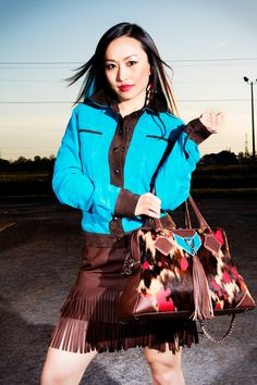 YNF Color Bloc Collection 2013... Cool, casual separates in luxuriously soft goat suede and lambskin in bright shades of Turquoise, Red, Caramel and Chocolate accompanied by the stunningly original 'Element City Bag' in Safari Acid Wash cowhide with leather trim and authentic, handmade jewellry using semi-precious stones, bone, shells and crystals. Rami Al Ali, Native Fashion, Shades Of Turquoise, Native Style, Love Is Free, City Bag, European Fashion, Old Women, Summer Collection