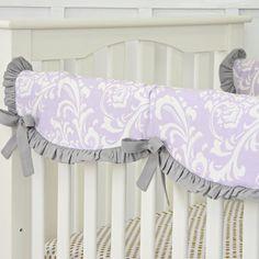 Lavender Sweet Lace Damask Crib Rail Cover