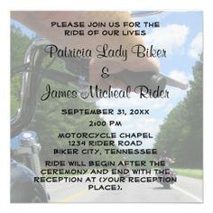 Motorcycle Biker Wedding Ride Invitation