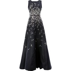 Oscar de la Renta sequin appliqué dress ($23,775) ❤ liked on Polyvore featuring dresses, gowns, silk gown, sequined dresses, skater skirt, embroidered evening dress and full length evening dresses