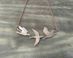 Copper necklace birds freedom flight jewelry for every day