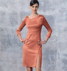 New from Ralph Rucci for Vogue Patterns. Close-fitting dress sewing pattern has shaped neckline, bands, insets, left side-front slit, back darts stitched on right side of fabric, invisible back zipper, and continuous bias binding finishing seams and hems. V1458, Misses' Dress