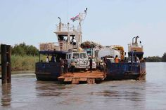 The ferry we took across the river Gambia on our Overlanding West Africa Trip from Dakar to Freetown. Overland Truck, Adventure Tours, Guinea Bissau, Sierra Leone, West Africa, Roads, River, Fun, Road Routes