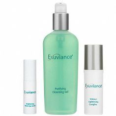 Exuviance Brighten Up Kit 3 piece by Exuviance. $85.00. Fades hyperpigmentation. Clinically proven. Illuminates entire complexion. Lightens dark circles. Evens out skin tone. Illuminate your complexion with this comprehensive regimen from Exuviance. The Brighten Up Kit includes : Purifying Cleansing Gel (7.2 fl oz) Intense Lightening Complex (1 oz) Brightening Bionic Eye Creme (.5 oz)