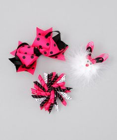 Hot Pink and Black Furry Bunny Set $12.99
