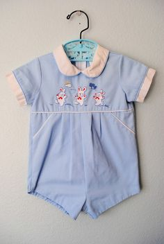 sweet vintage baby boy bunny romper