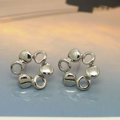 Circle Round Flower New Women Fashion Jewelry Ladies 925 Silver Stud Earrings #Unbranded #Stud