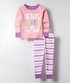 This Pink 'Jesus Loves Me' Pajama Set - Kids is perfect! #zulilyfinds