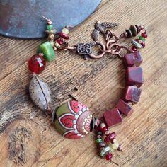 RESERVED do not purchaseNicely Nouveau Bracelet - Bird, Apple Jasper, Red…