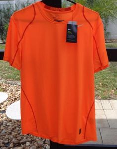 Nike Mens Pro Cool Fitted DriFIT Short Sleeve Shirt SZ Large Neon Orange NWT #Nike #ShirtsTops