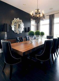 dark wall in dining room