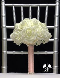 IVORY BRIDESMAID Bouquet with SPARKLY Real RHINESTONE Bands. PICK ROSE Flower Ball Centerpiece, Crown Centerpiece, Red Centerpieces, Mickey Centerpiece, Aqua Wedding, Hot Pink Weddings, Dusty Rose Wedding, Corsage Wedding, Bridesmaid Bouquet