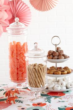 Fox Sweet Spread. Donuts, crème pirouettes and orange candy show that sweets can also be eye candy.