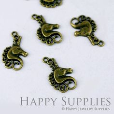10pcs High Quality Antique Bronze Unicorn Charm / Pendant (11585)