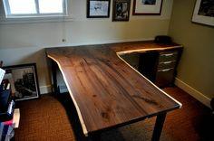 l shaped walnut slab desk, painted furniture, woodworking projects