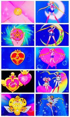 sailor moon's brooches from all 5 seasons 〖 Pretty Guardian Sailor Moon Usagi Tsukino Moon Prism Power Moon Star Power Moon Comic Power Moon Crisis Moon Eternal transformation brooch compact poses 〗